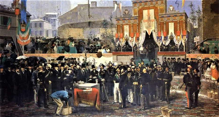 Domenico Induni - Posa della prima pietra della Galleria di Milano il 7 marzo 1865