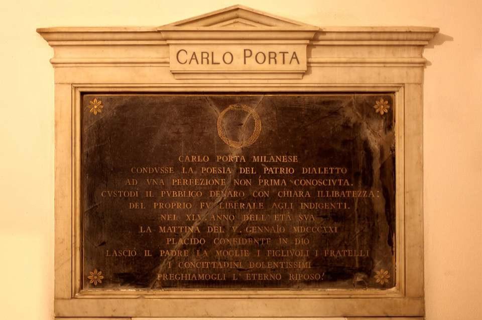 Lapide di Carlo Porta nella Cripta della chiesa di San Gregorio