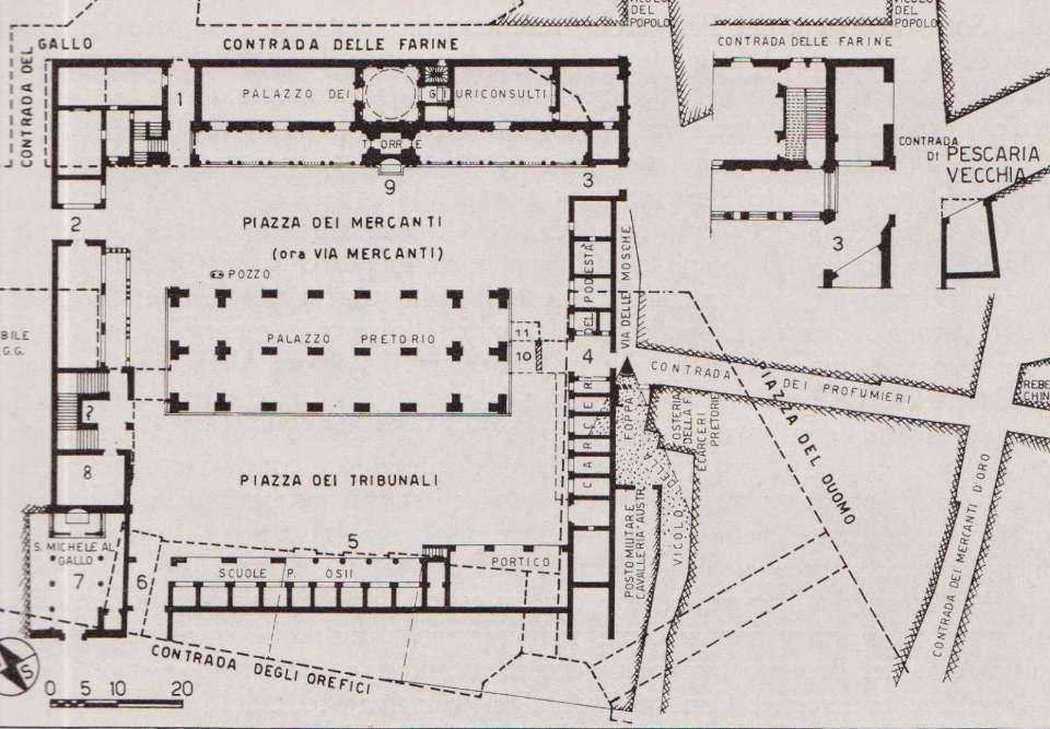 Pianta della Piazza del Broletto e contrade limitrofe (1865)
