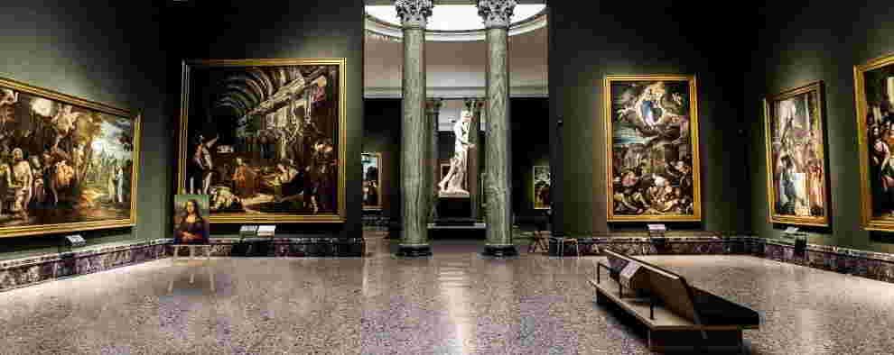 Simulazione foto d'epoca della Monna Lisa alla Pinacoteca dii Brera