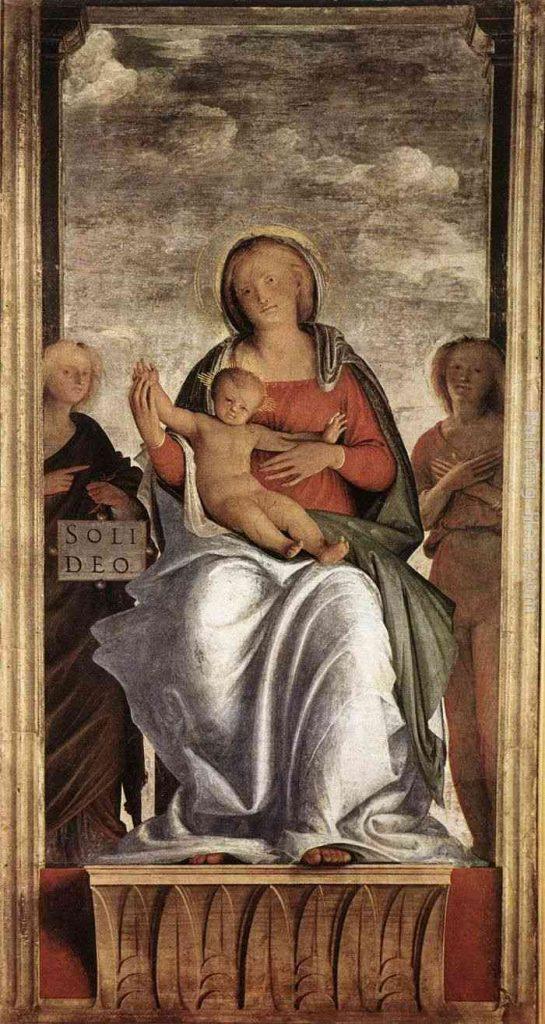 Bramantino: Madonna col Bambino e due angeli, Particolare (un affresco riportato su tela) cm. 240 x 135), Pinacoteca di Brera, Milano.