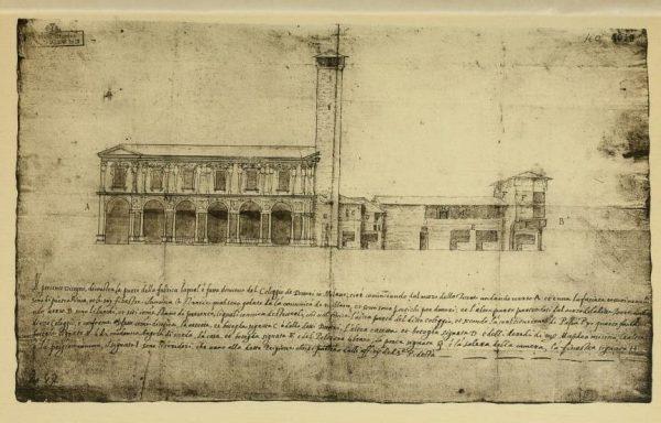 Primo progetto del Seregni con alla sinistra il nuovo Palazzo dei Giureconsulti, alla destra gli edifici del Palazzo dei Notai e in mezzo la Torre di Napo Torriani, 1560 circa