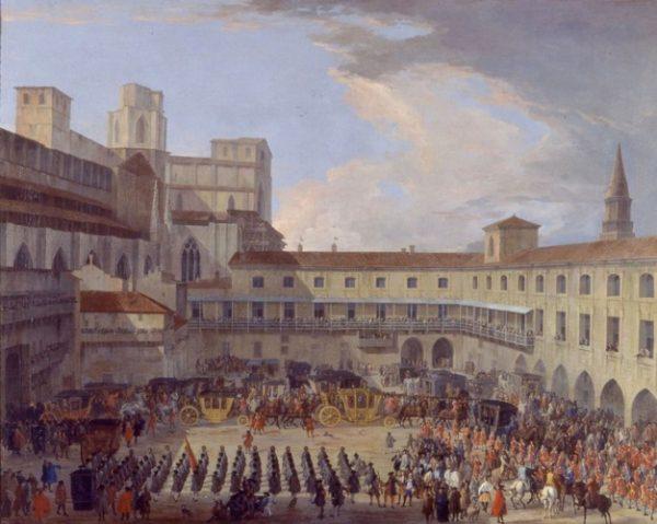 Broletto vecchio (Palazzo Ducale) all'arrivo di Carlo III di Spagna