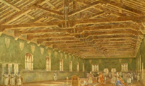 Particolare della ricostruzione della sala interna al palazzo di Alfonso Quarantelli, (Civica raccolta delle stampe Achille Bertarelli – Castello Sforzesco – Milano)