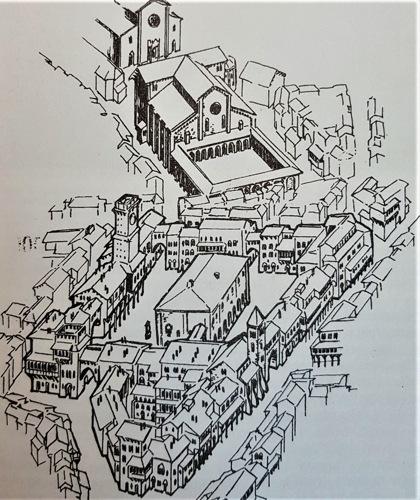 Piazza del Broletto Nuovo attorno al 1360 (disegno di Giò Tavaglione, da 'Vivimilano', 18 Aprile 1993)