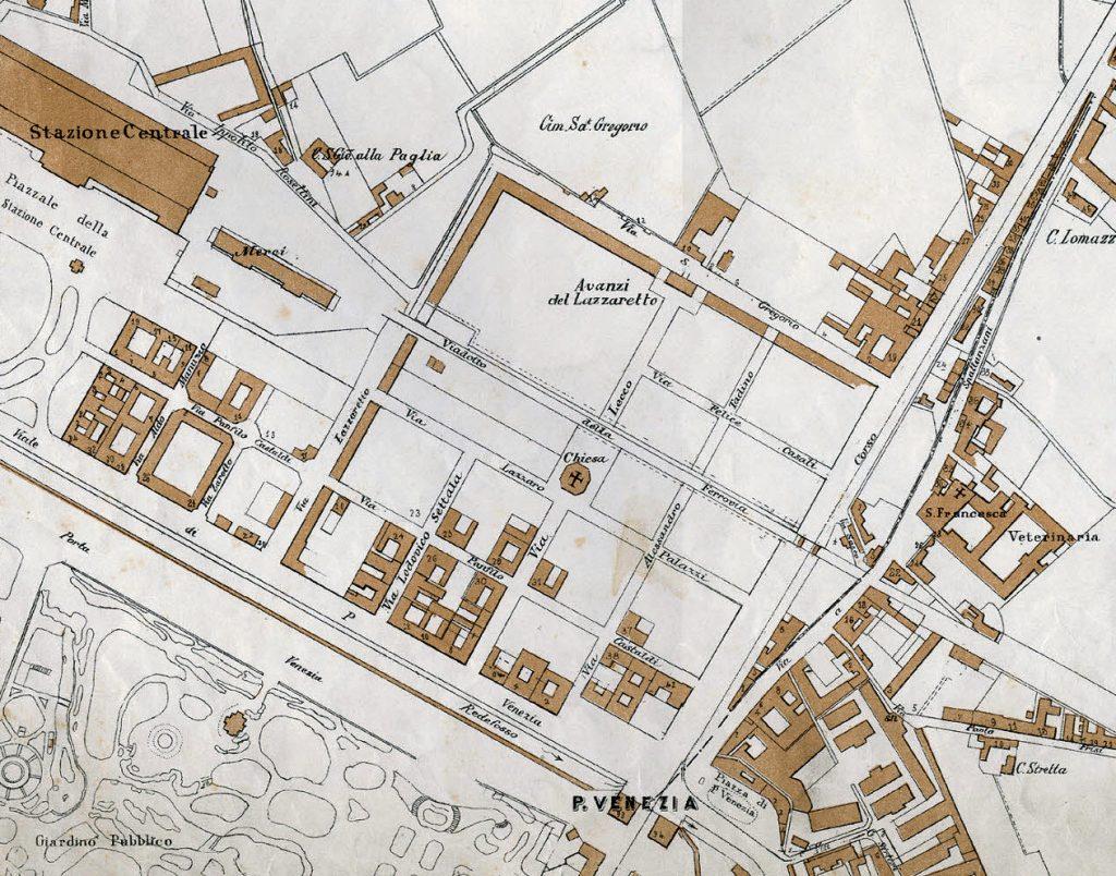 Pianta area del Lazzaretto nel 1865