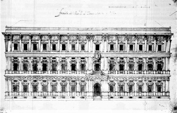 Progetto originario facciata Palazzo Marino