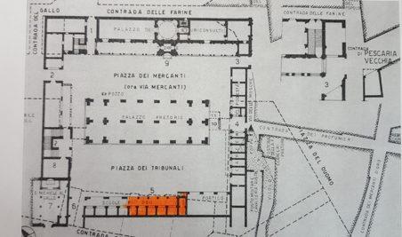 La loggia degli Osii in piazza dei Tribunali (piazza del Broletto Nuovo