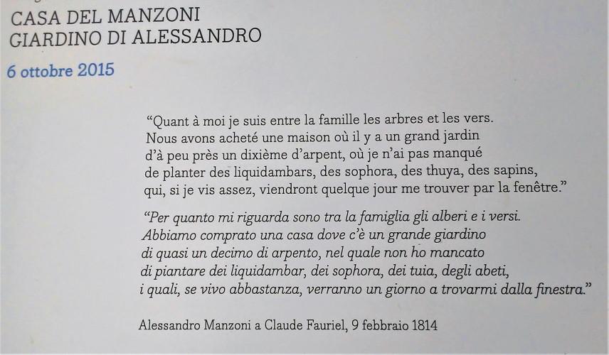 Lapide messaggio di Manzoni scritto a C. Fauriel all'ingresso del giardino di Casa Manzoni