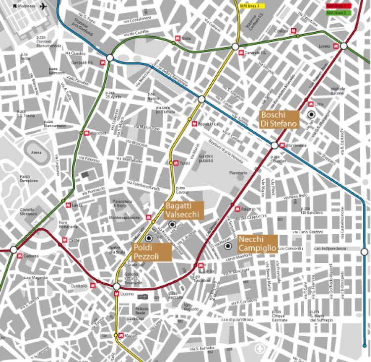 Mappa delle quattro Case Museo del circuito
