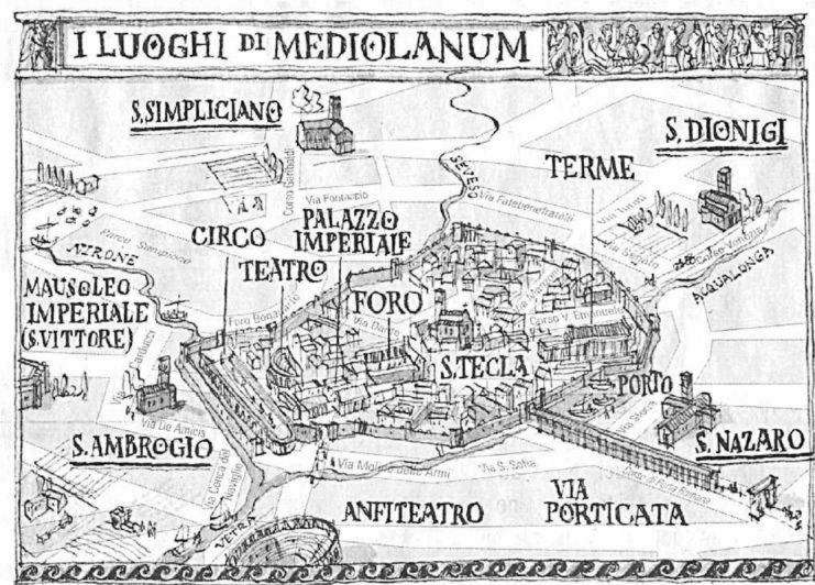 Pianta della Mediolanum del I secolo d.C.