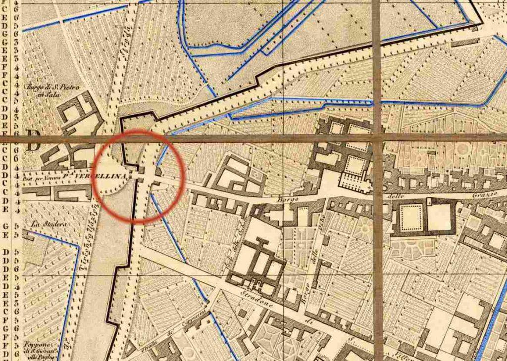 Mappa Porta Vercellina 1860