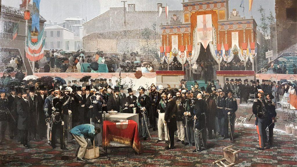 7 marzo 1865 - Posa della prima pietra della Galleria Vittorio Emanuuele II (quadro di Gerolamo Induno)