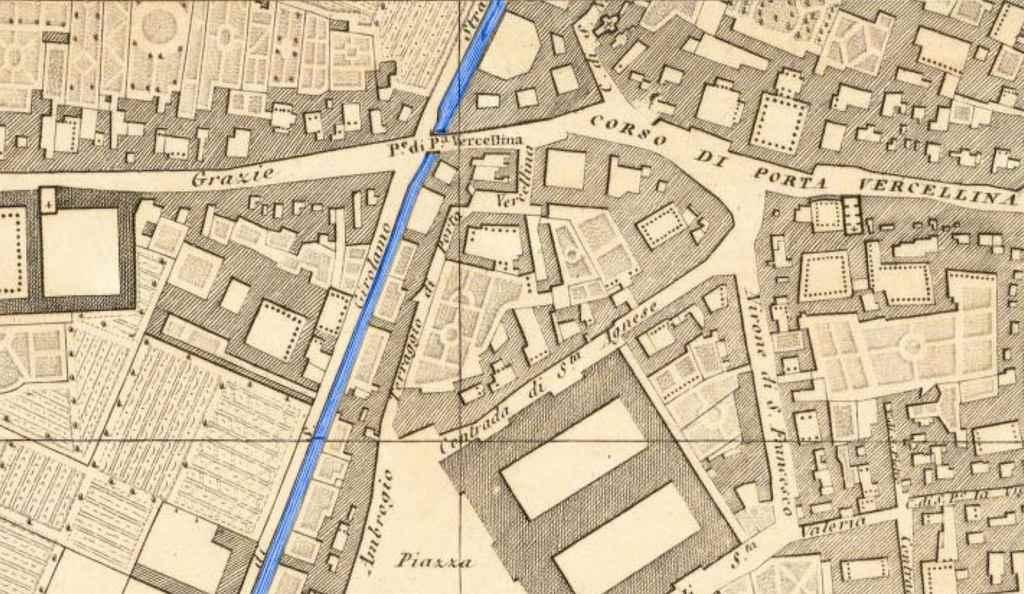 Mappa Porta Vercellina nel 1500
