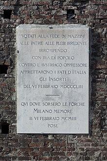 Lapide a ricordo degli imsorti del 6 febbraio 1853