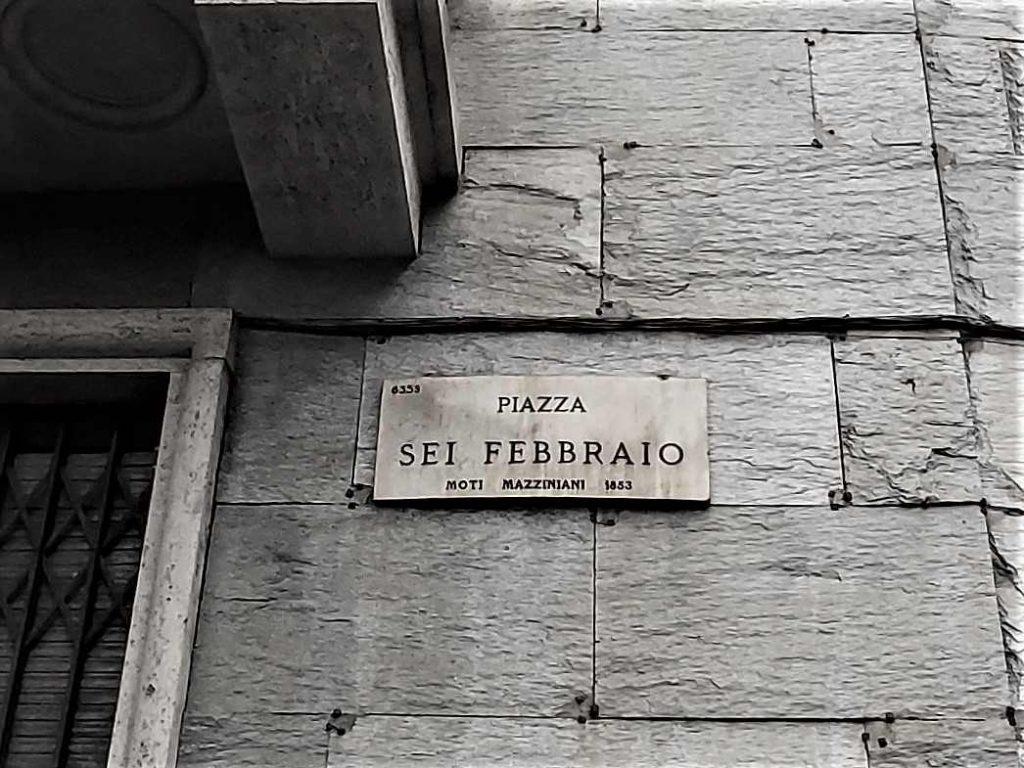 Targa di Piazza Sei Febbraio a Milano